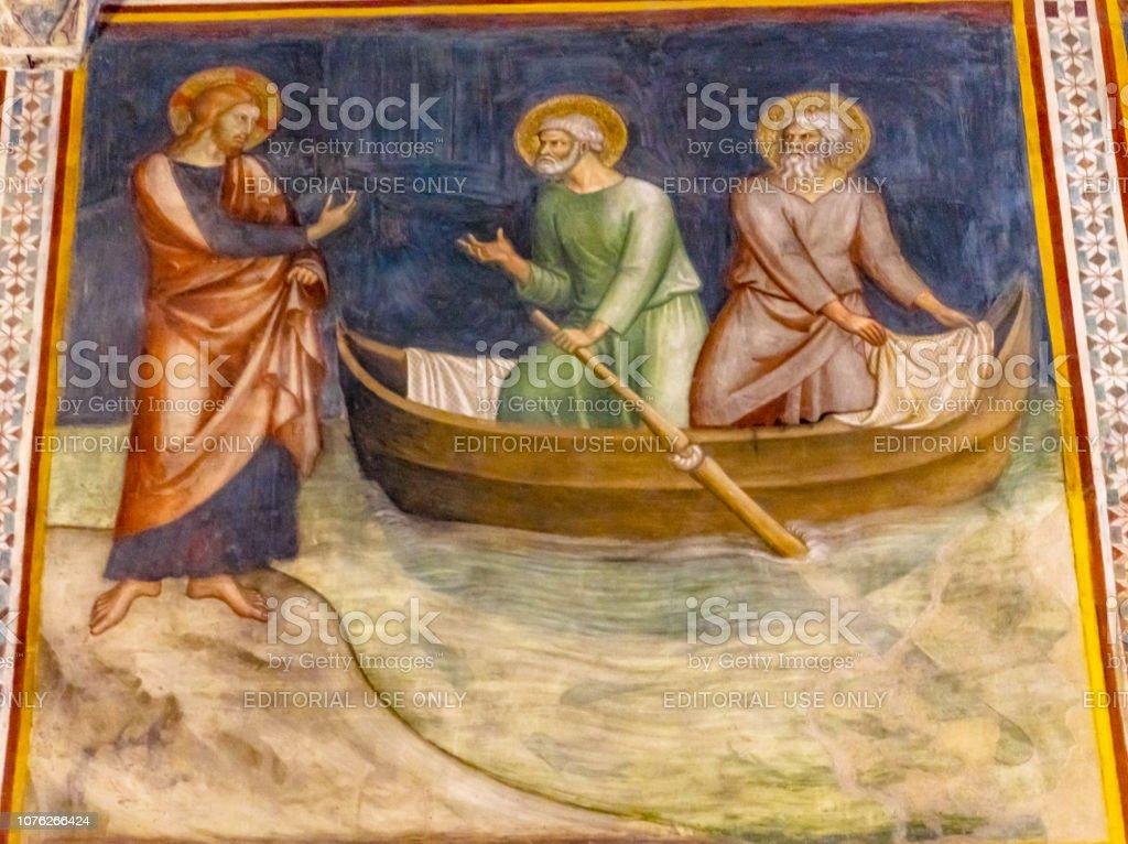 Jesus Calling Peter Medieval Fresco Church San Gimignano Tuscany Italy stock photo