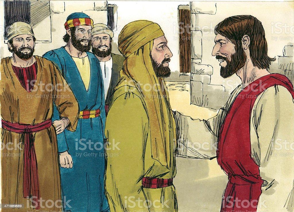 Jesus Calls Nathanael stock photo