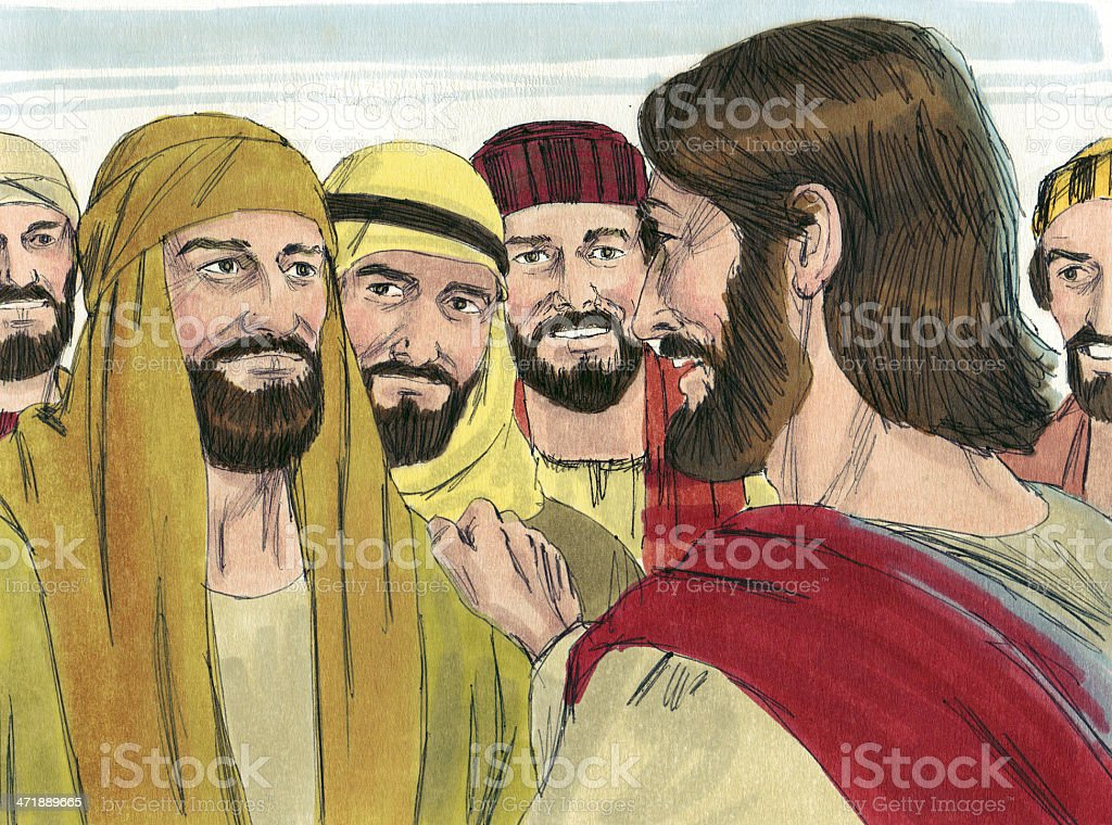 Jesus Calls Philip and Bartholomew stock photo