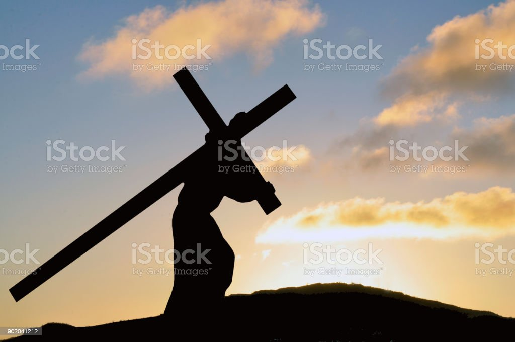 Jesus carrying the Cross on Good Friday stock photo