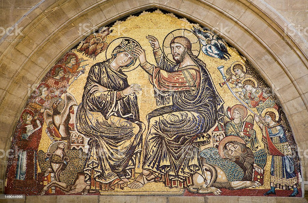Jesus Christ and coronation of holy mary -  Florence cathedral royalty-free stock photo