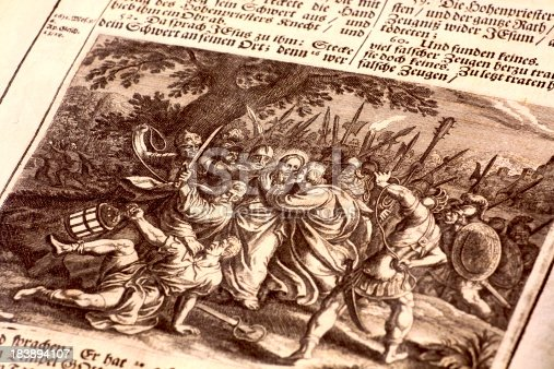 Jesus Christ and Roman Soldiers. Illustration from  an old german bible published by Johann Philipp Andrea in 1704See more BIBLE images here:
