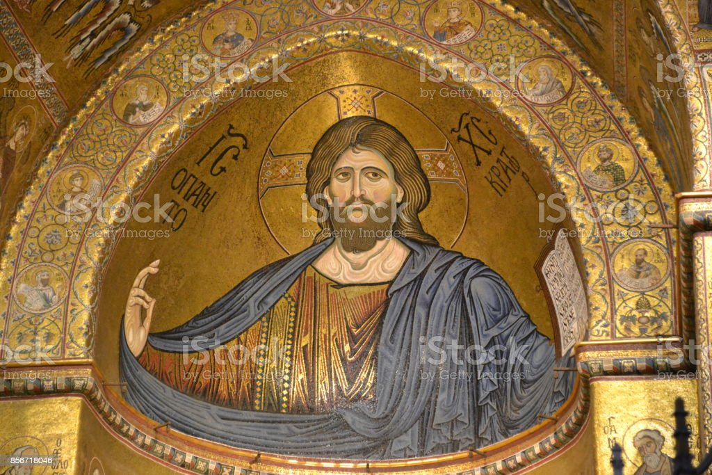 Jesus Christ - Byzantine mosaic stock photo
