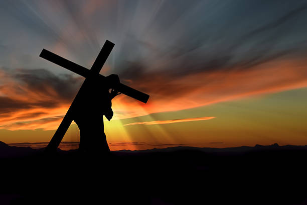jesus christ carrying cross - carrying stock pictures, royalty-free photos & images