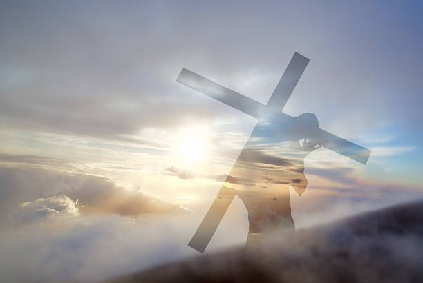 Jesus Christ Carrying Cross up Calvary on Good Friday stock photo