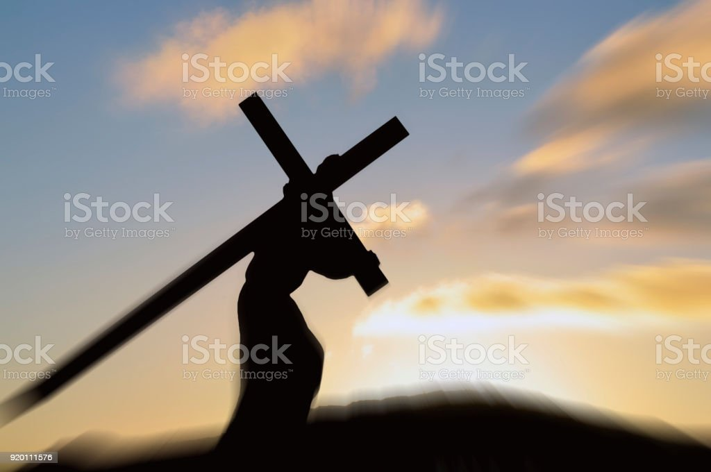 Jesus Christ carrying the cross on Good Friday stock photo