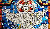 Modern Rendition of Jesus Christ Church Stained Glass Pane