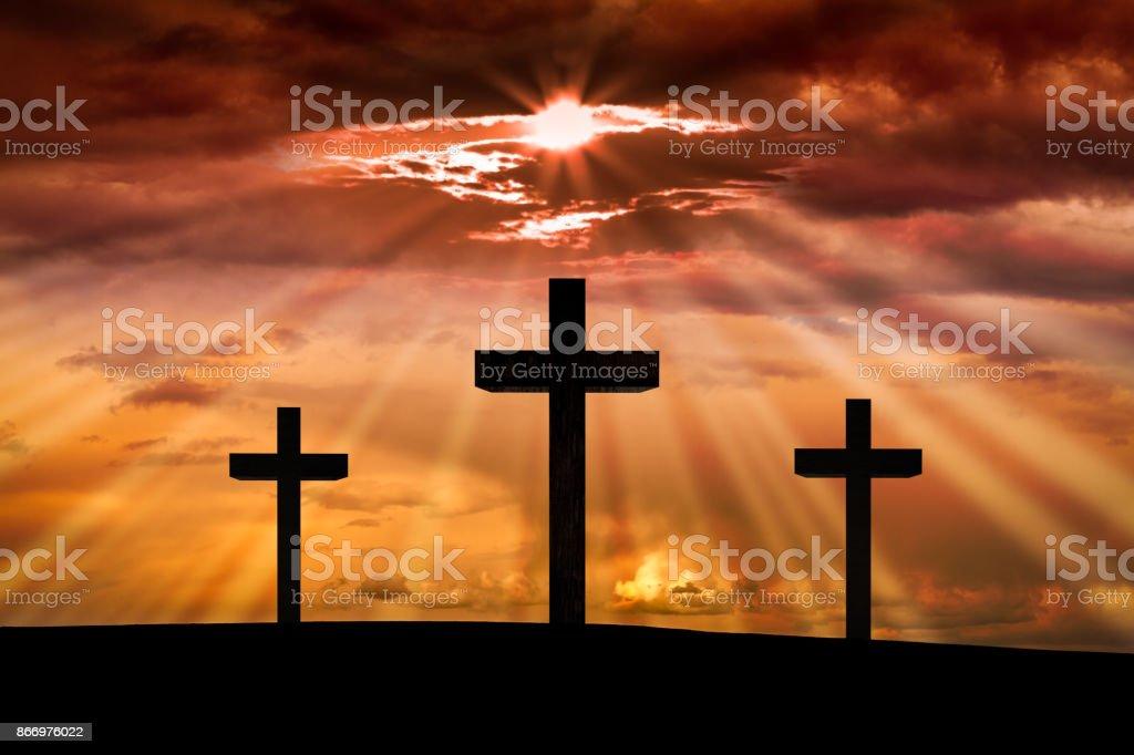 Jesus Christ Cross On A Dramatic Ski At Sunset On Golgotha Mountain Calvary Scene Stock Photo Download Image Now Istock