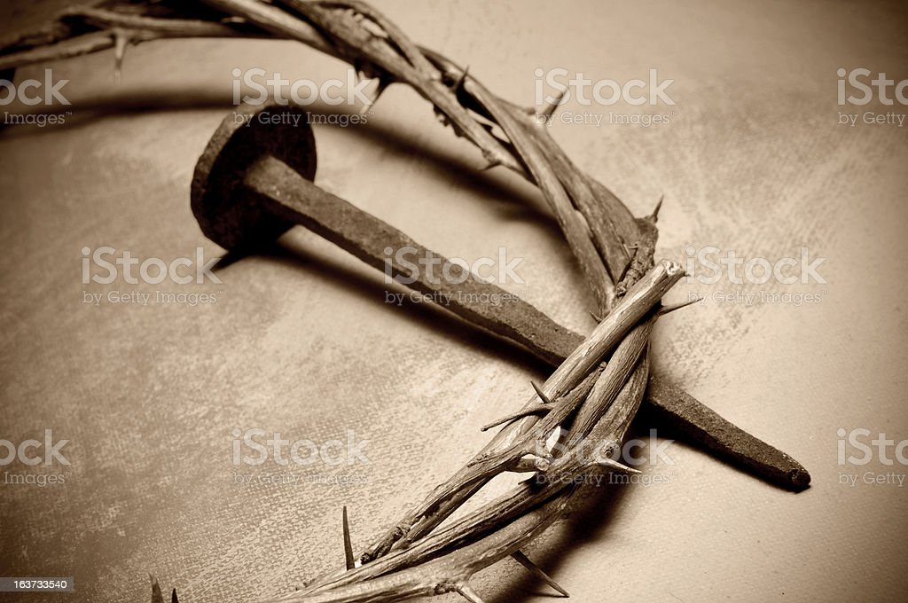 Jesus Christ crown of thorns and nail stock photo