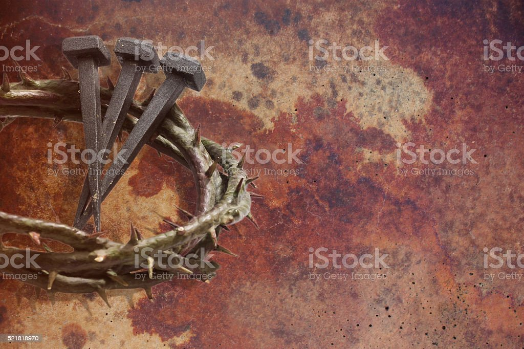 Jesus Christ crown of thorns and nails. stock photo
