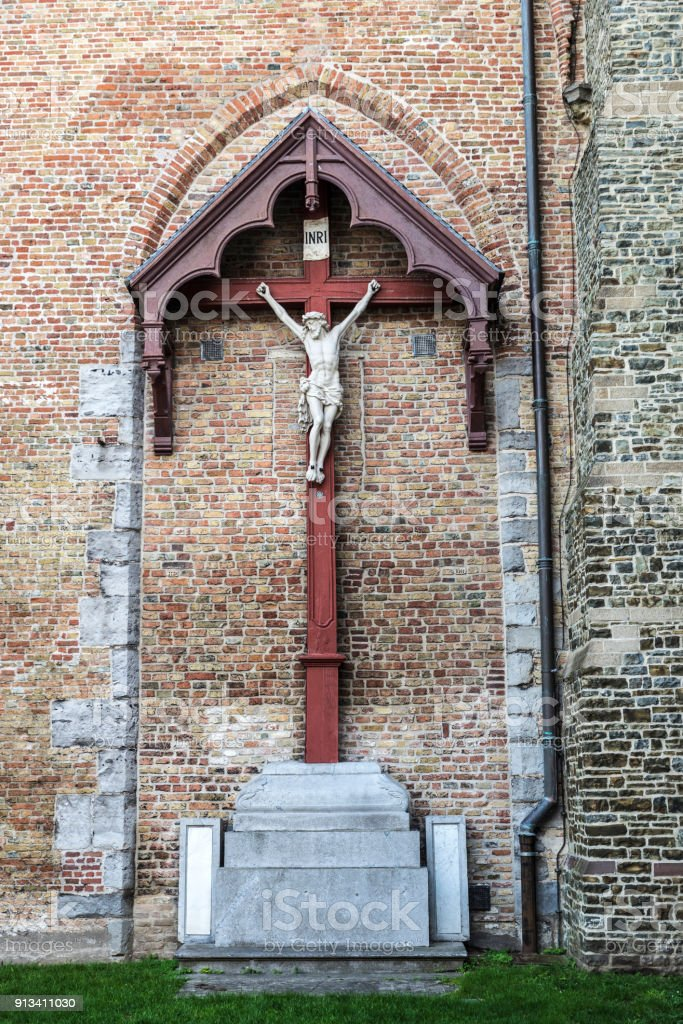 Jesus Christ crucified on the cross in Bruges, Belgium stock photo
