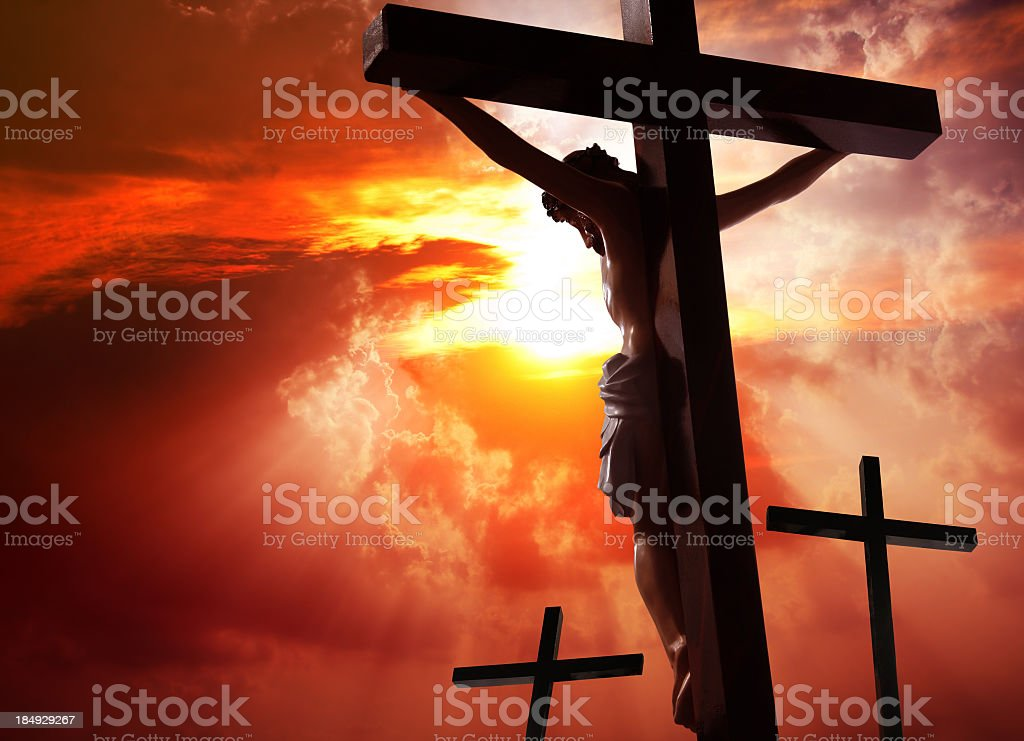 Jesus Christ crucified on the cross stock photo