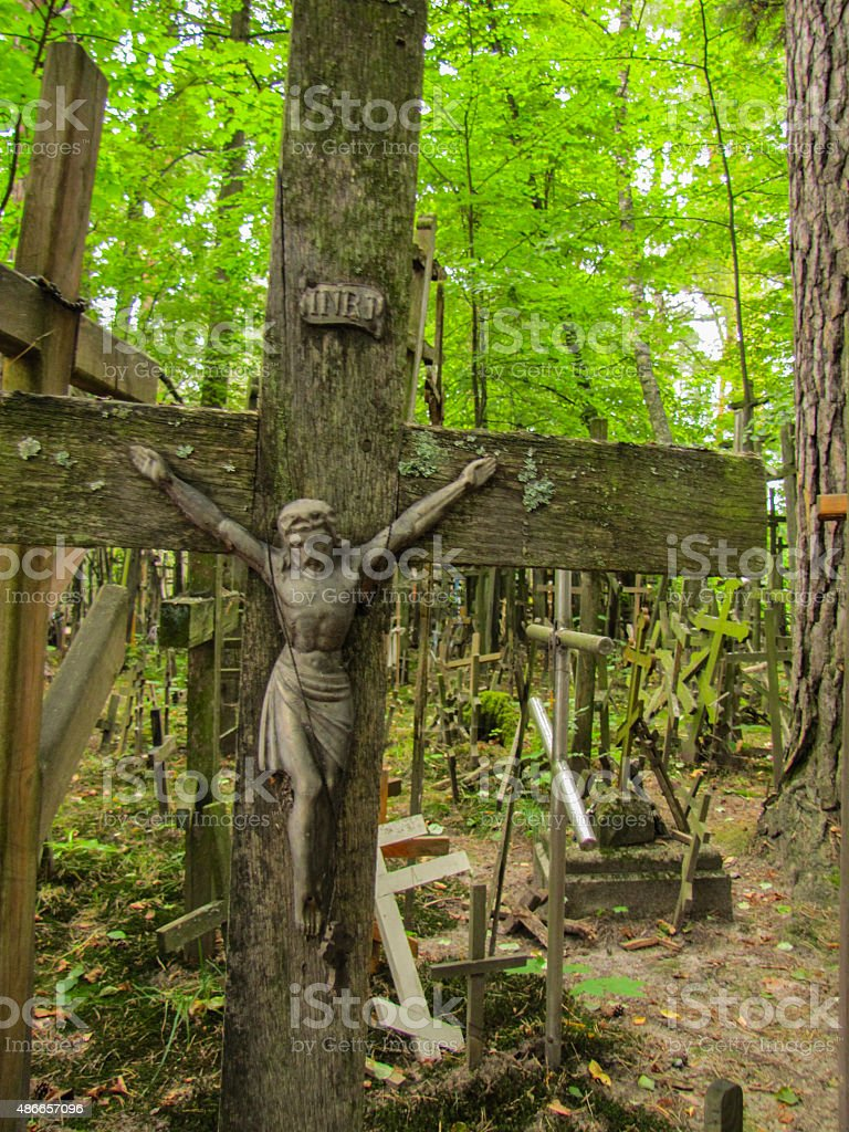 jesus christ crusified on the hill of crosses stock photo
