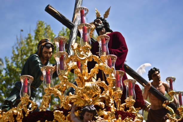 jesus kristus går till processionen - easter procession spain bildbanksfoton och bilder
