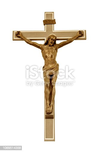 Jesus Christ hanging on an old cross i wood in the church, closeup with white background