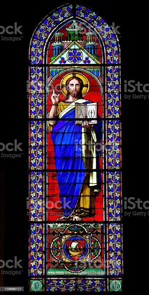 Jesus Christ holding the Bible royalty-free stock photo