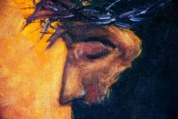 jesus christ icon. original oil painting on canvas - jesus cristo imagens e fotografias de stock