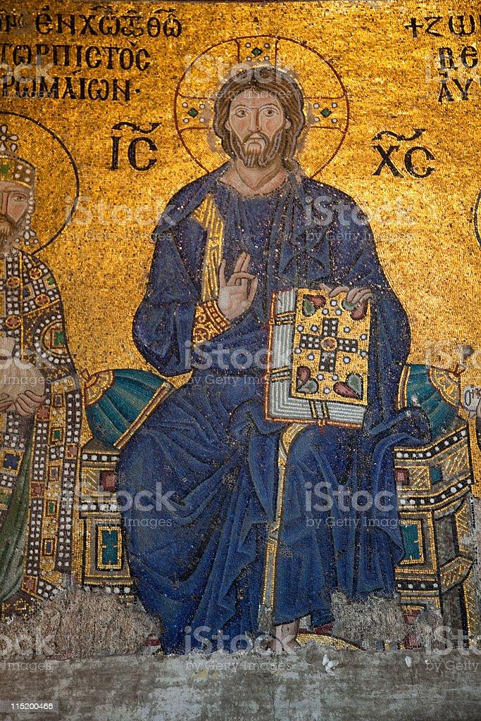 Jesus Christ in Aya Sophia (Haghia Sophiaa), Istanbul, Turkey royalty-free stock photo