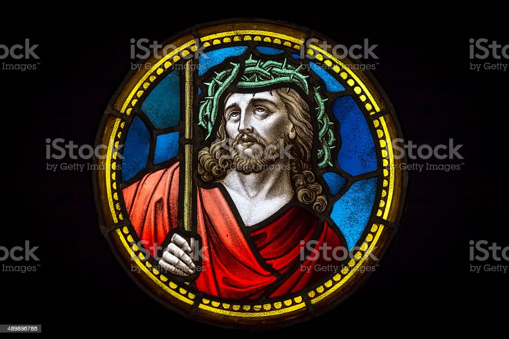 Jesus Christ in crown of thorns stock photo