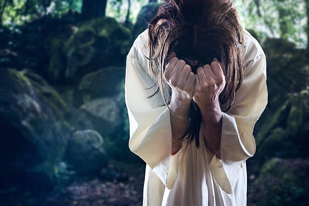 Jesus Christ in Garden of Gethsemane stock photo