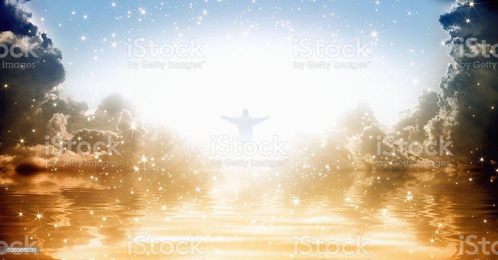 Jesus Christ in heaven stock photo