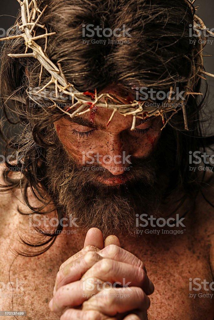 Jesus Christ in prayer stock photo