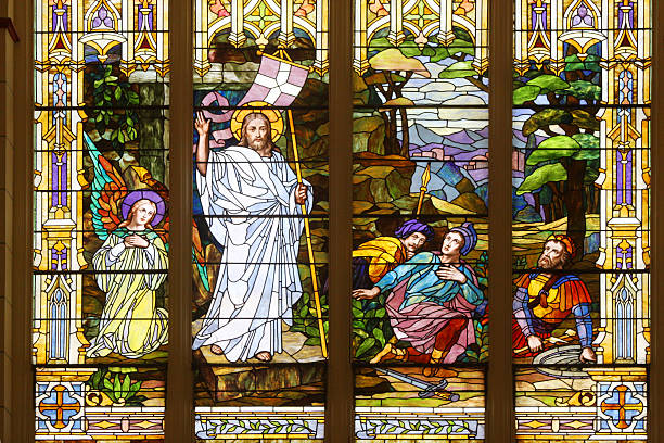 Jesus Christ in Stained Glass stock photo