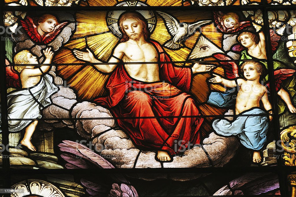 Jesus Christ in Stained Glass Window Detail stock photo