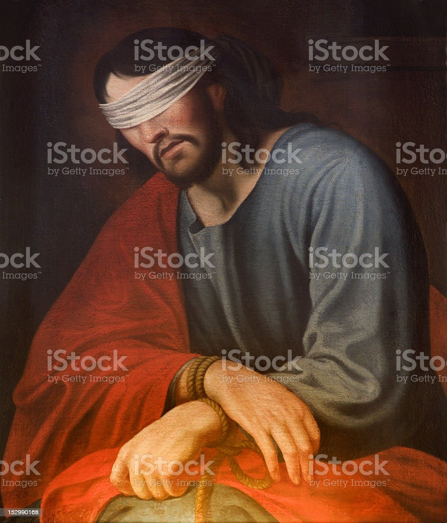 Jesus Christ in the bond from Prague Jesuits church royalty-free stock photo