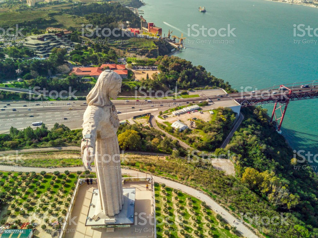 Jesus Christ monument in Lisbon, Portugal stock photo