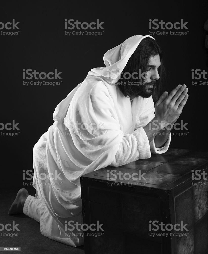 Jesus Christ of Nazareth praying royalty-free stock photo