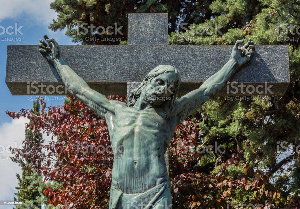 Jesus Christ on cross stock photo