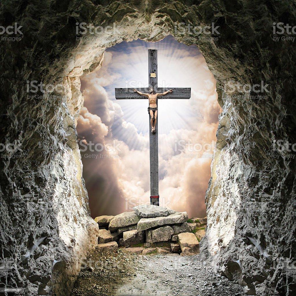 Jesus Christ on The Cross. stock photo