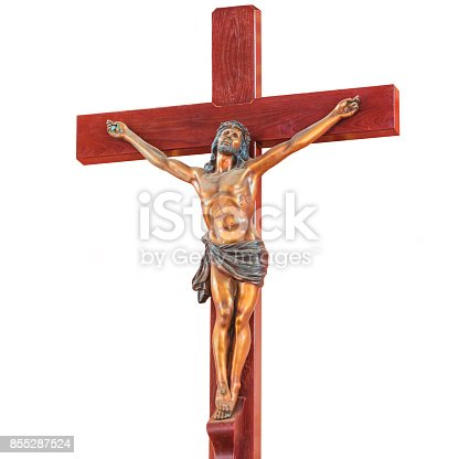 istock Jesus Christ on the cross wooden isolated on white background. 855287524