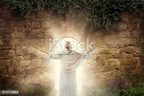 Man looking like Jesus Christ comes out of the cave
