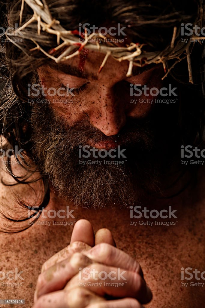 Jesus Christ praying stock photo