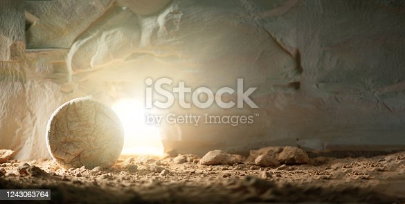 "istock Jesus Christ resurrection. Christian Easter concept. Empty tomb of Jesus with light. Born to Die, Born to Rise. ""He is not here he is risen"". Savior, Messiah, Redeemer, Gospel. Alive. Miracle. 1243063764"