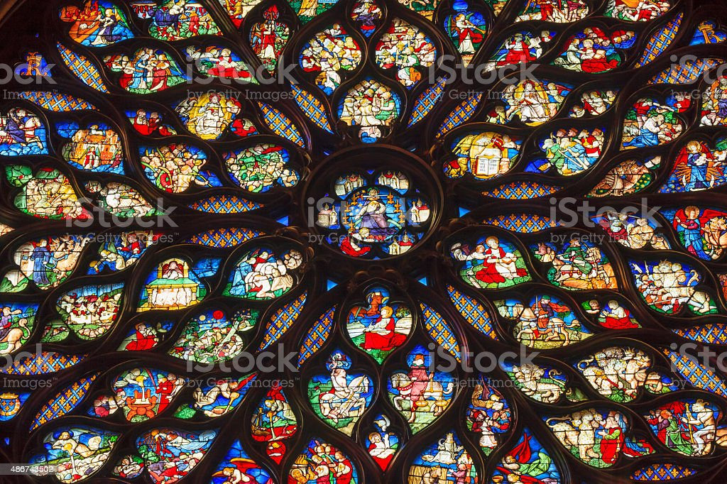 Jesus Christ Rose Window Stained Glass Sainte Chapelle Paris France stock photo