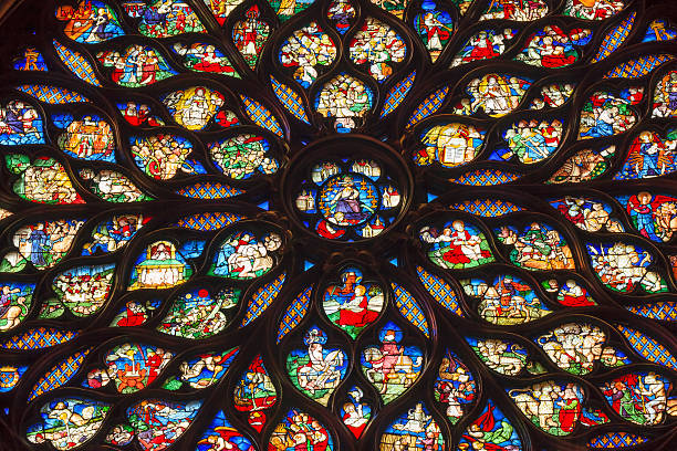 jesus christ rose window stained glass sainte chapelle paris france - rose window stock pictures, royalty-free photos & images