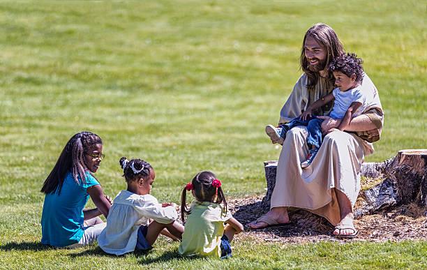 Jésus Christ séance de quatre frères enseignement pour les enfants - Photo