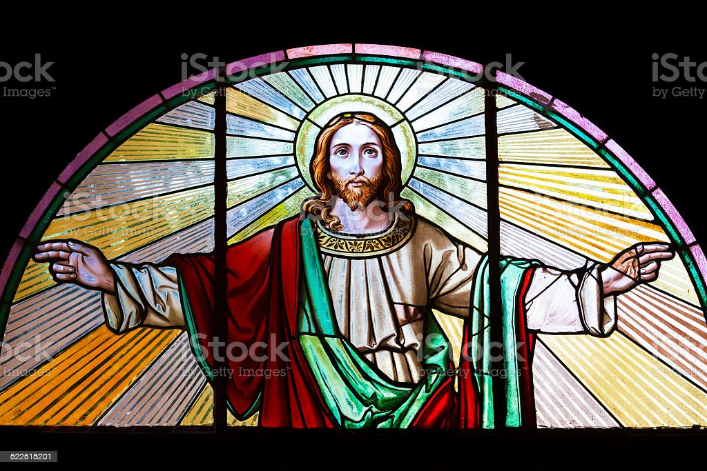 Jesus Christ, stained glass church window stock photo
