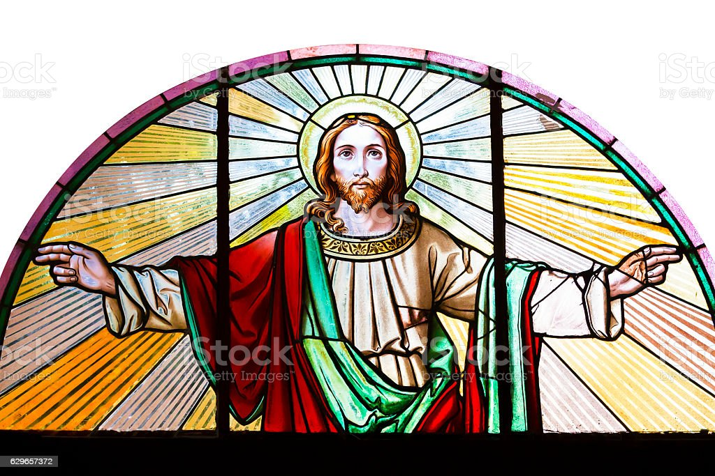 Jesus Christ, stained glass church window, white background, copy space stock photo