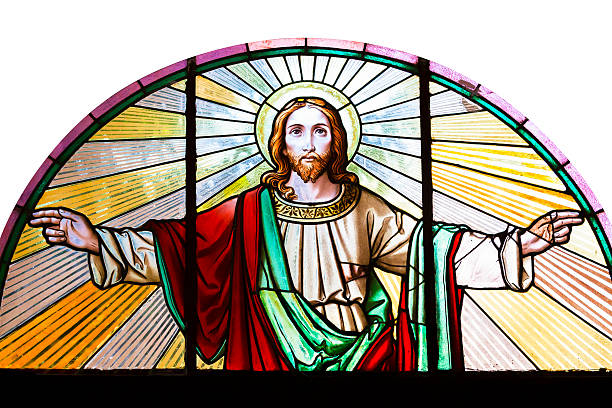 Jesus Christ, stained glass church window, white background, copy space Stained glass window from 1854 of Jesus Christ with his arms outstretched, artist unknown, Czech Republic, full frame square composition, clipping path and copy space includedStained glass window from 1854 of Jesus Christ with his arms outstretched, artist unknown, Czech Republic, full frame square composition, clipping path and copy space included Amen stock pictures, royalty-free photos & images