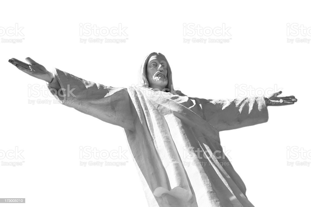 Jesus Christ Statue Isolated on White Background stock photo
