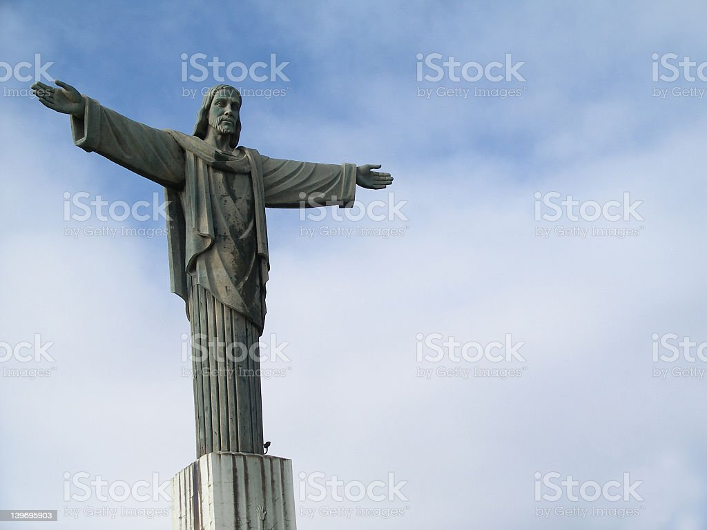 Jesus Christ Statue (2 of 4) Jesus Christ Statue in Dominican Republic. This is a 2nd version of the same statue from Brazil Rio de Janiero. Ancient Stock Photo