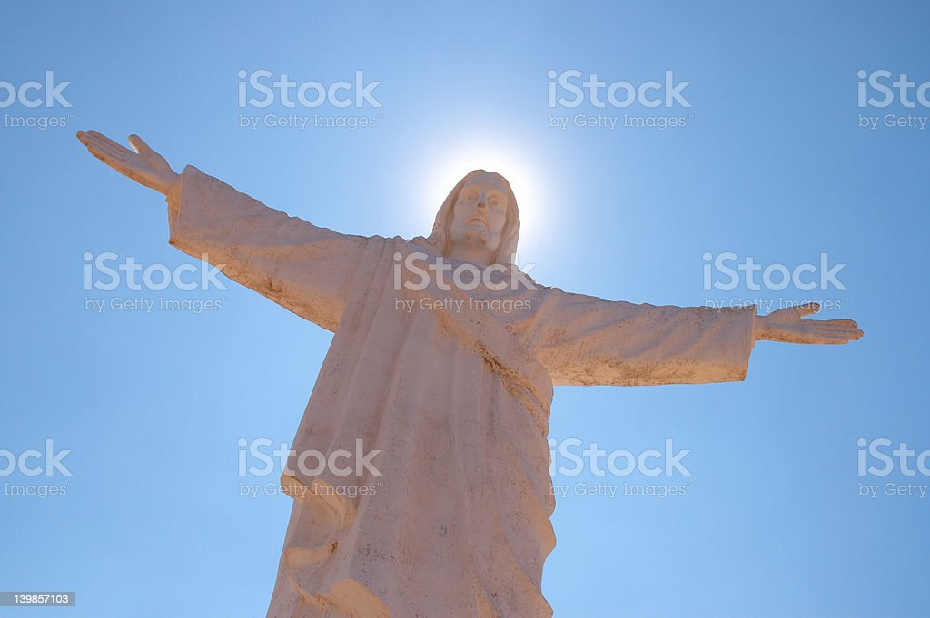 Jesus Christ Statue with Halo Effect royalty-free stock photo