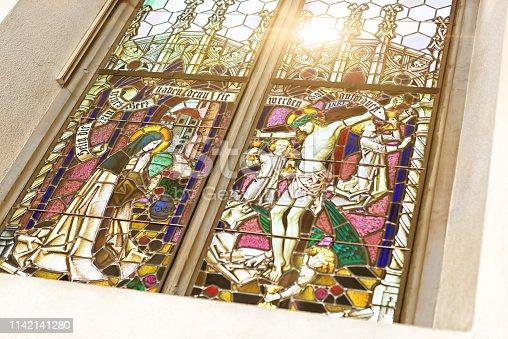 Leaded church glass window in the church of Gonten, Switzerland