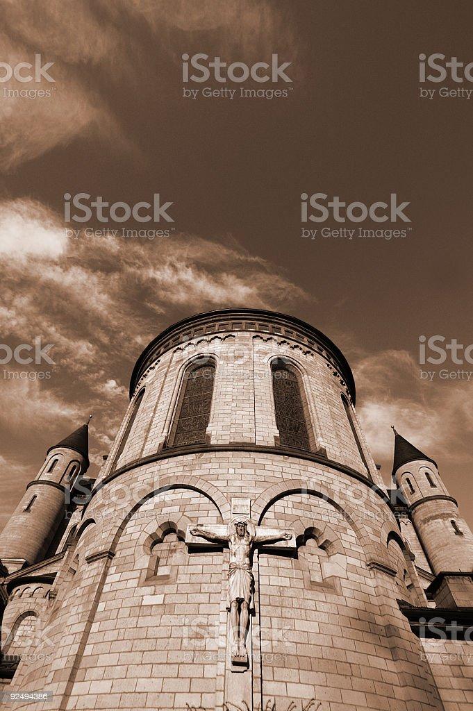 Jesus Church and Sky sepia royalty-free stock photo