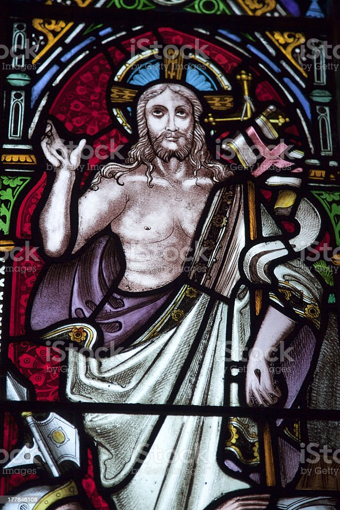Jesus close-up stained glass window Bamburgh royalty-free stock photo