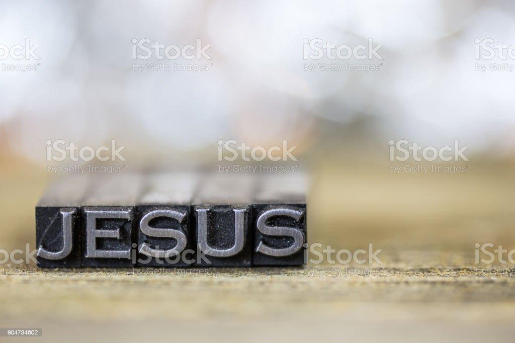 Jesus Concept Vintage Metal Letterpress Word stock photo